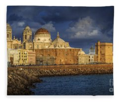 Stormy Skies Over The Cathedral Cadiz Spain Fleece Blanket