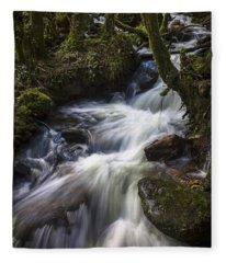 Stream On Eume River Galicia Spain Fleece Blanket