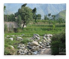 Stream Trees House And Mountains Swat Valley Pakistan Fleece Blanket