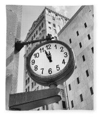 Street Clock Fleece Blanket