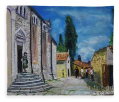 Street View In Rovinj Fleece Blanket