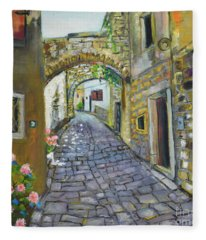 Street View In Pula Fleece Blanket