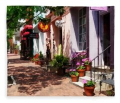 Alexandria Va - Street With Art Gallery And Tobacconist Fleece Blanket