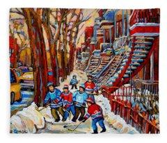 Streets Of Verdun Hockey Art Montreal Street Scene With Outdoor Winding Staircases Fleece Blanket