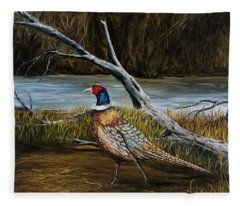 Fleece Blanket featuring the painting Strutting Pheasant by Darice Machel McGuire