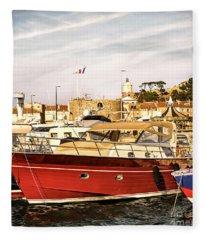Saint-tropez Harbor Fleece Blanket
