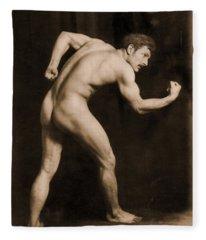 Study Of A Male Nude Fleece Blanket