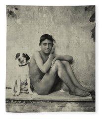 Study Of A Nude Boy With Dog Fleece Blanket