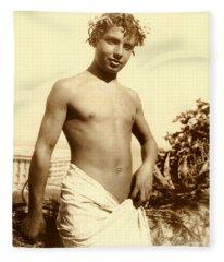 Study Of A Young Boy In Naples Fleece Blanket