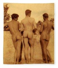 Study Of Three Male Nudes Fleece Blanket