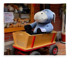 Stuffed Donkey Toy In Wooden Barrow Cart Fleece Blanket