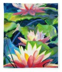 Styalized Lily Pads 3 Fleece Blanket