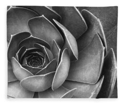 Succulent In Black And White Fleece Blanket