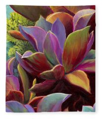 Fleece Blanket featuring the painting Succulent Jewels by Sandi Whetzel