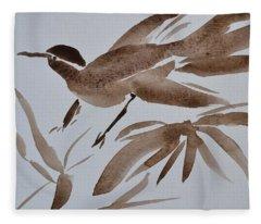Sumi Bird Fleece Blanket