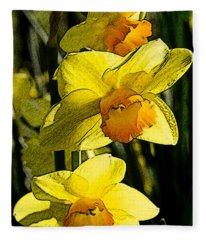 Sumi-e In Yellow Fleece Blanket