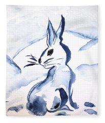 Sumi-e Snow Bunny Fleece Blanket