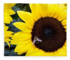 Summer Bee In Sunflower Fleece Blanket