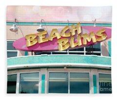 Summer Cottage Beach Bums Myrtle Beach Art Deco Sign Fleece Blanket