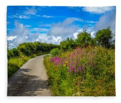 Summer Flowers On Irish Country Road Fleece Blanket