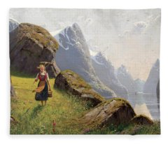 Summer In The Fjord Fleece Blanket