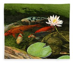 Summer Koi And Lilly Fleece Blanket