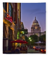 Summer Night In Providence Fleece Blanket