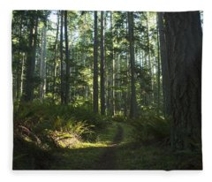 Summer Pacific Northwest Forest Fleece Blanket