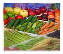 Summer's Bounty Fruit Veggie Art Prints Fleece Blanket