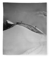T-702412-bw-summit Of Mt. Robson Fleece Blanket