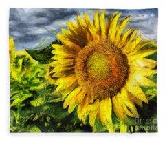 Sunflower Drawing  Fleece Blanket