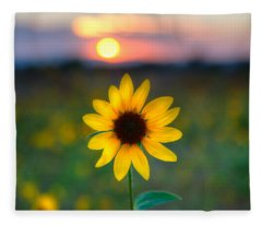 Sun Flower Iv Fleece Blanket