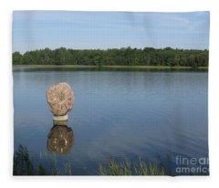 Sun In The Lake. Park Vilnoja. Suderve. Lithuania. Fleece Blanket