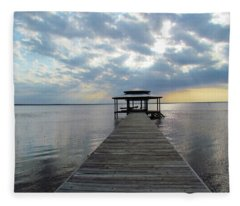 Sun Rays On The Lake Fleece Blanket