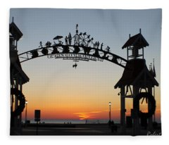 Sun Reflecting On Clouds Ocean City Boardwalk Arch Fleece Blanket