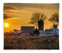 Sun Rise Over The Farm Fleece Blanket