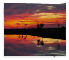 Sun Set At Cowen Creek Fleece Blanket