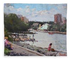 Sunday At Port Credit Park Mississauga Fleece Blanket
