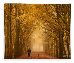 Sunday Morning Walk With The Dog In A Foggy Forest In Autumn Fleece Blanket