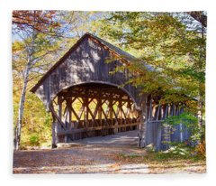 Sunday River Covered Bridge Fleece Blanket