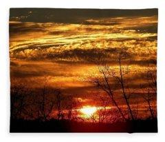 Sundown On The Farm Fleece Blanket