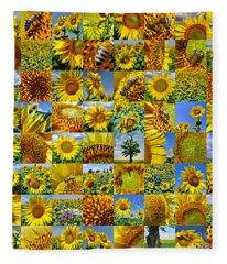 Sunflower Field Collage In Yellow Fleece Blanket