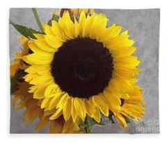 Sunflower Photo With Dry Brush Filter Fleece Blanket