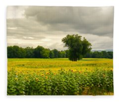 Sunflowers And The Tree Fleece Blanket