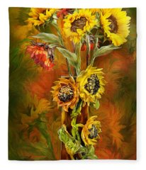Sunflowers In Sunflower Vase Fleece Blanket