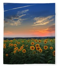 Sunflowers In The Evening Fleece Blanket