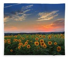Sunflowers In The Evening Fleece Blanket