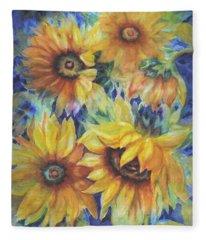 Sunflowers On Blue I Fleece Blanket