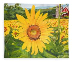 Sunflowers - Red Barn - Pennsylvania Fleece Blanket