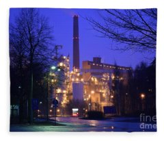 Sunila Pulp Mill By Rainy Night Fleece Blanket